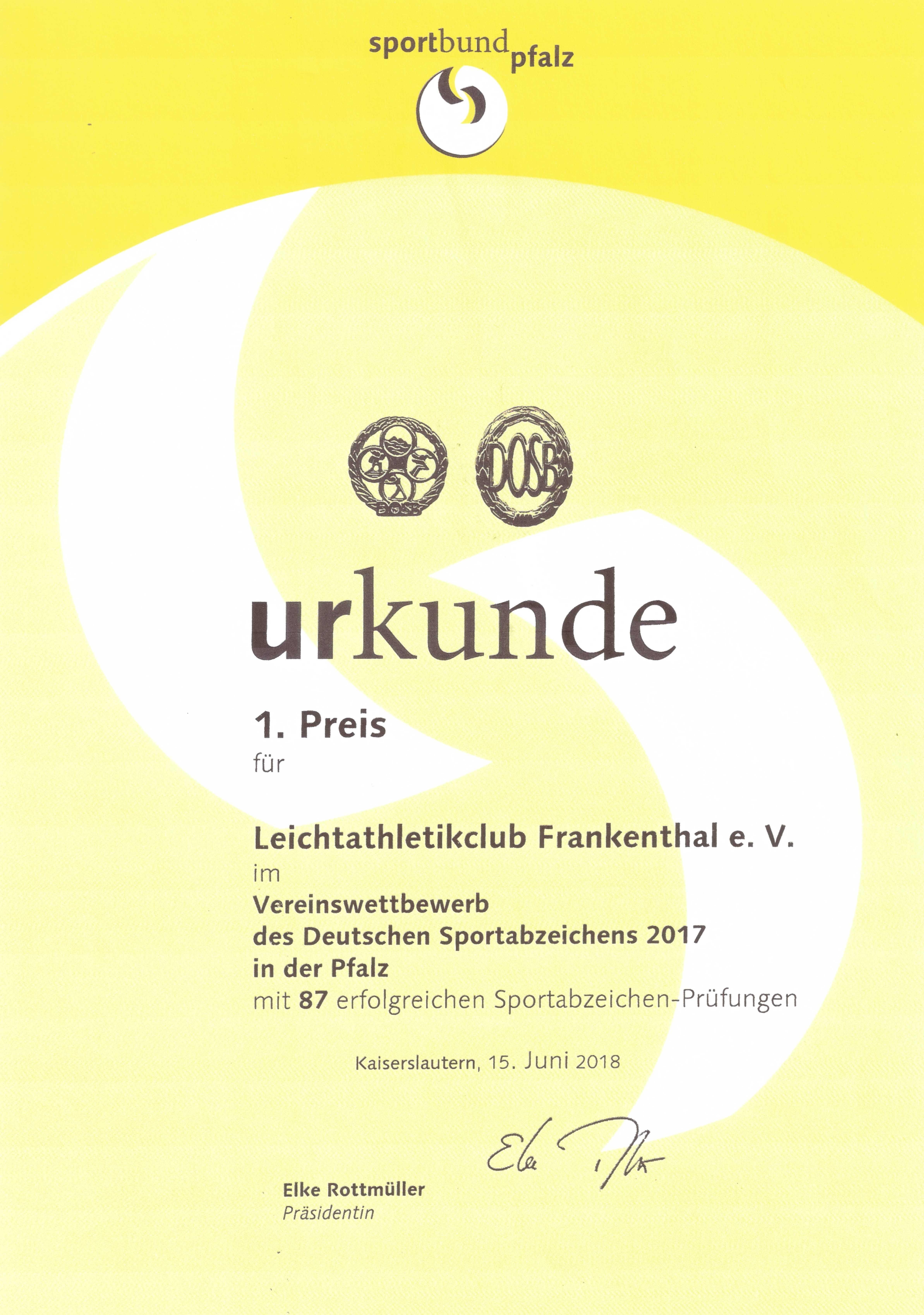 Urkunde des Sportbund Pfalz